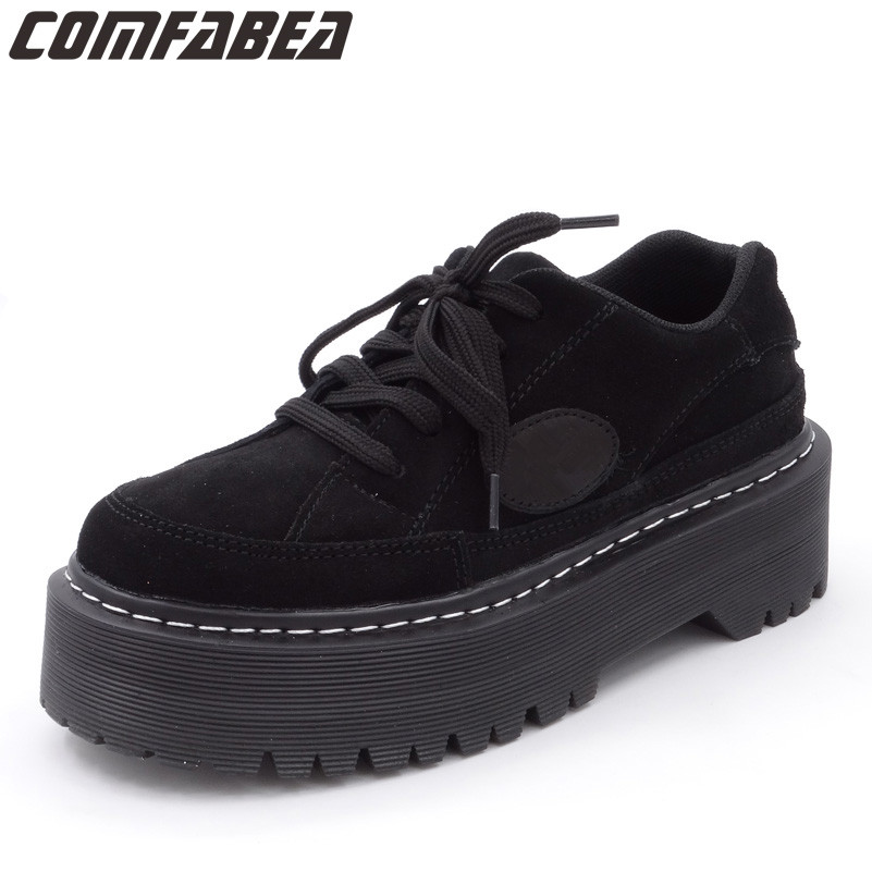 Spring Autumn 2018 Fashion Platform Shoes Cow   Suede     Leather   Women Shoes Black Fashion Creeper Martin Shoe
