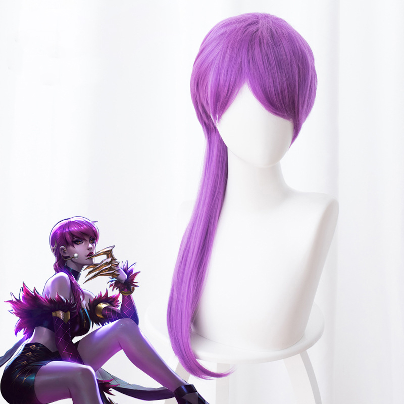 LOL New Skin K/DA Cosplay Hair Evelynn Cosplay Headwear Game LOL KDA 45CM Long Purple Heat Resistant Synthetic Hair Perucas