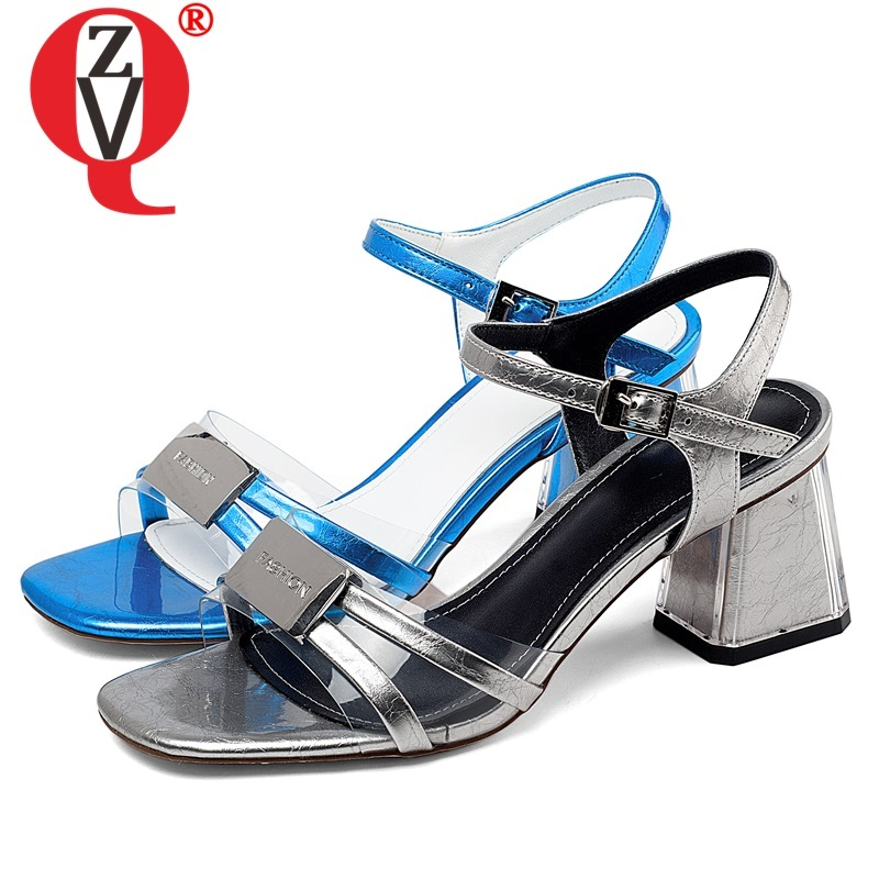 ZVQ woman shoes summer newest fashion sexy high quality genuine leather woman sandals outdoor high heels buckle plus szie shoesZVQ woman shoes summer newest fashion sexy high quality genuine leather woman sandals outdoor high heels buckle plus szie shoes