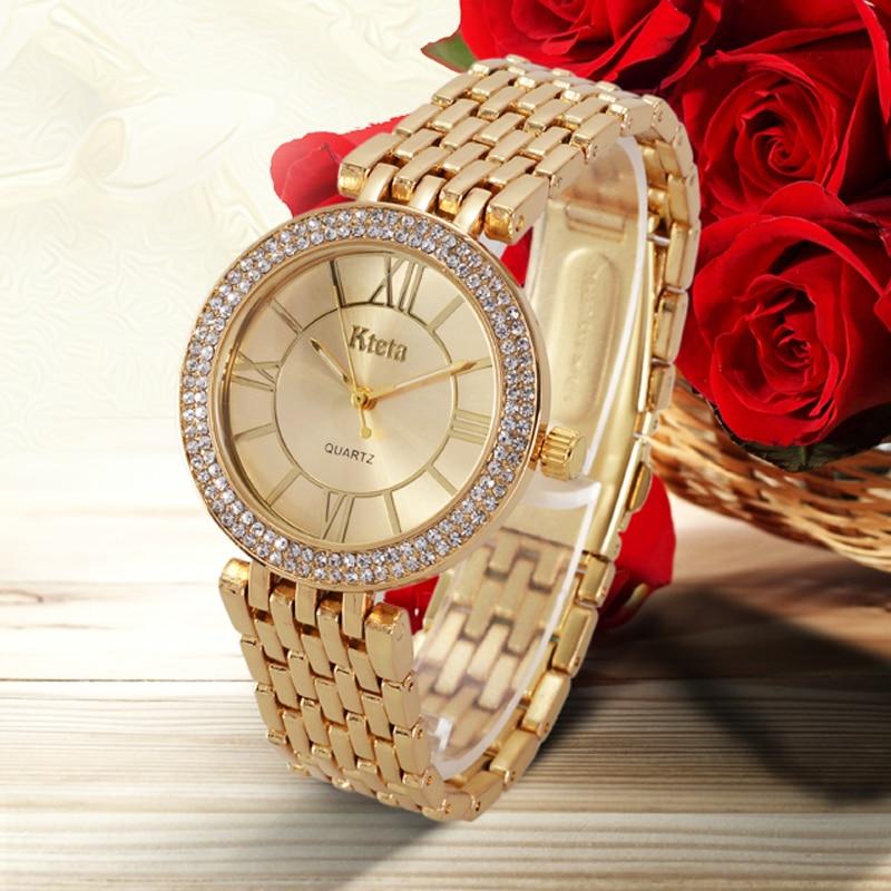 Damskie zegarki marki luksusowe diament złoty zegarek panie zegarek - Zegarki damskie - Zdjęcie 4