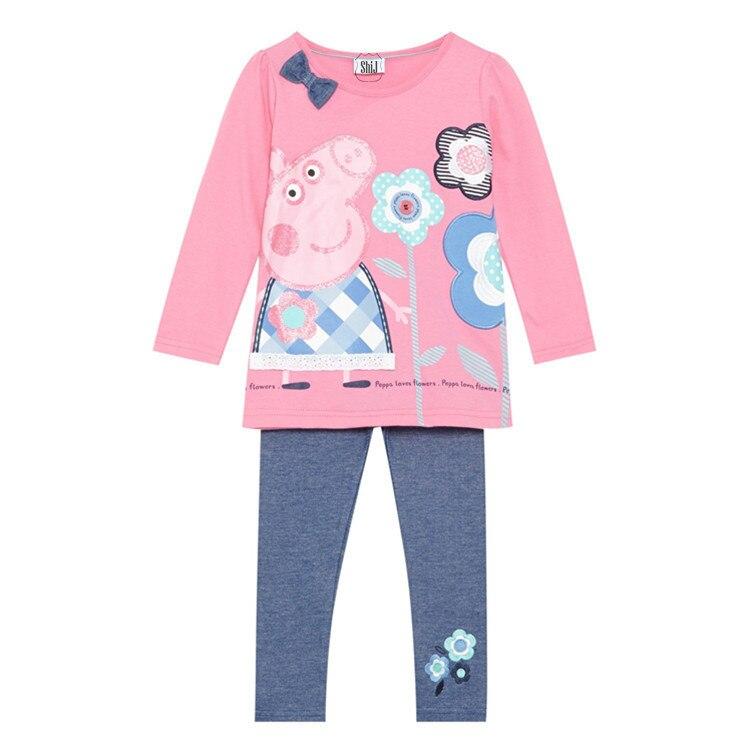 Peppa Pig Girls Toddlers Long Sleeve Shirt /& Leggings Set
