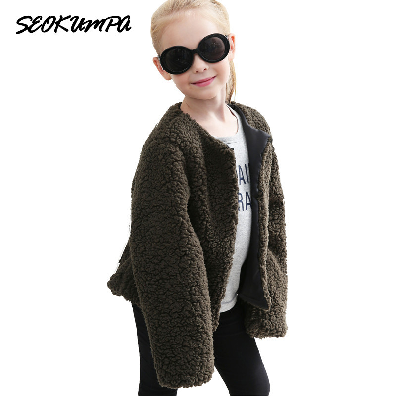 19152ae5e Girl s Winter Fur Coat 2017 Girls Faux Fur Jacket Children Baby ...
