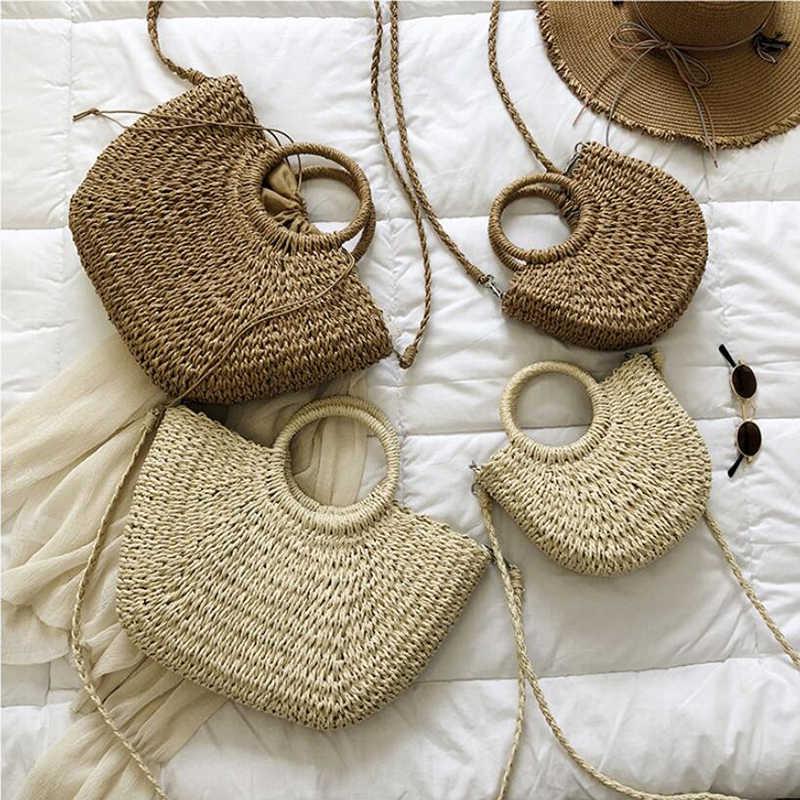Jerami Tas untuk Wanita Musim Panas Pantai Tas Vintage Kasual Bahu Tas Kapasitas Tinggi Tas Oval Berbentuk Tas