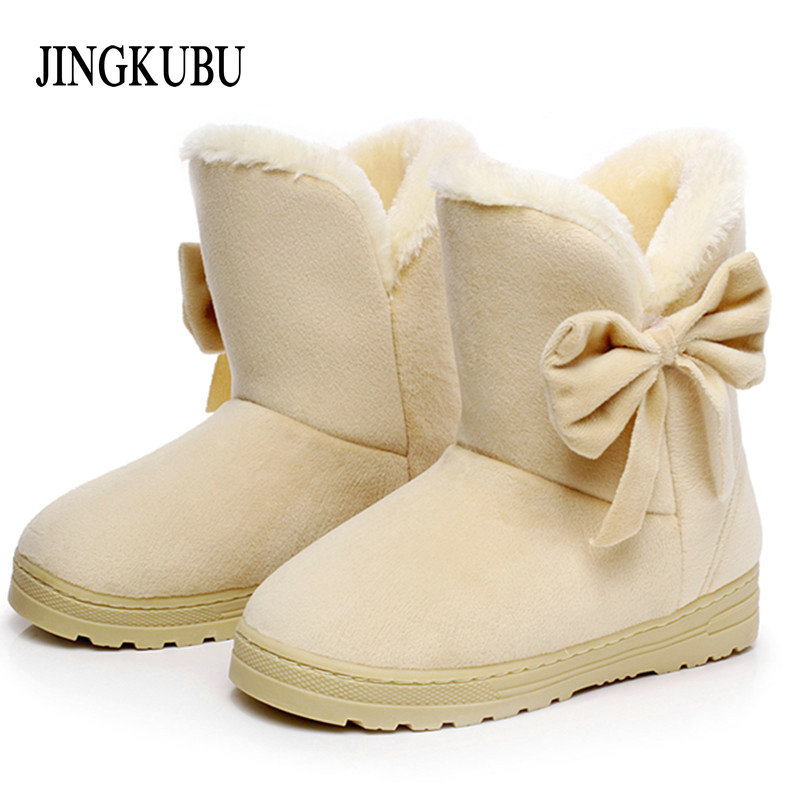 2017 New Arrival Hot Sale Women Boots Solid Bowtie Slip-On Soft Cute Women Snow Boots Round Toe Flat with Winter Shoes XWX1385