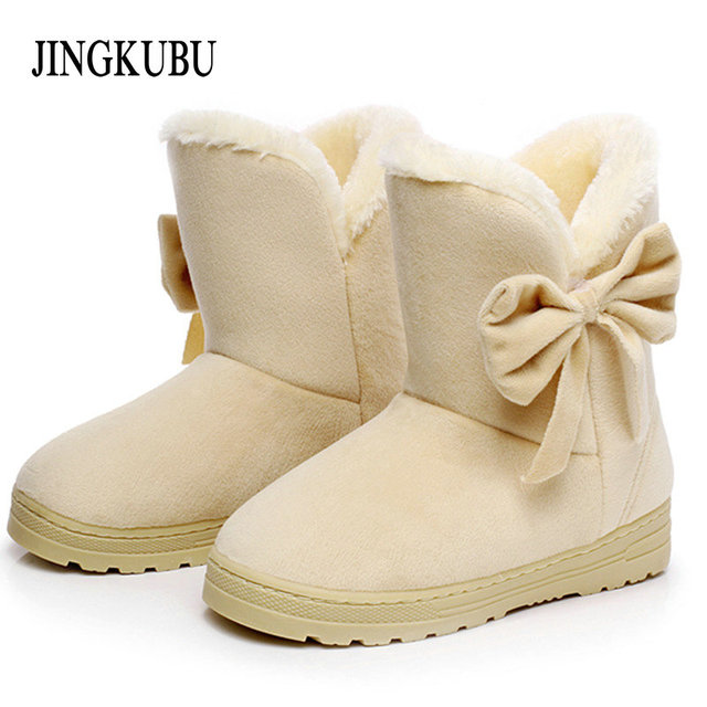 Women Boots Solid Bowtie Slip-On Soft Cute with Round Toe