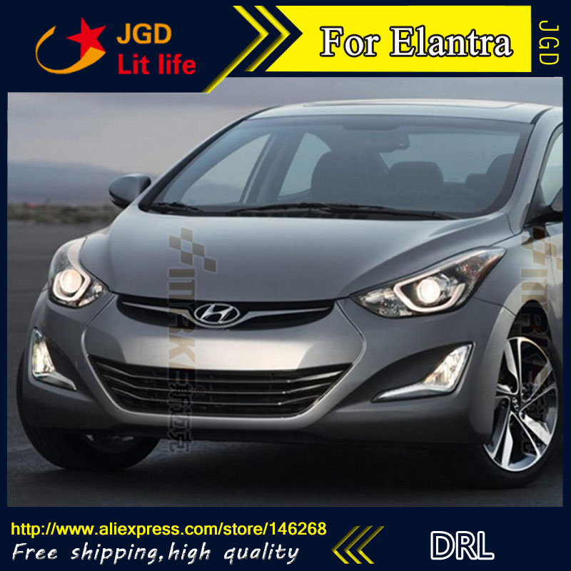 Free Shipping ! 12V 6000k LED DRL Daytime Running Light For Hyundai Elantra 2014 Fog Lamp Frame Fog Light