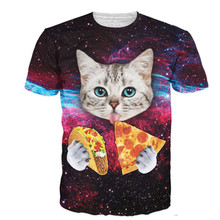 Cloudstyle 21 Patterns S 3XL 3D Men s T Shirt Short Sleeve Cat Eating Pizza in
