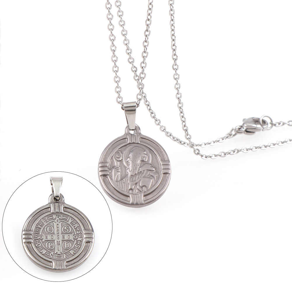 Saint Benedict Medal Pendant Necklace Steel Color Round Stainless Steel Catholic Church Cross Necklaces