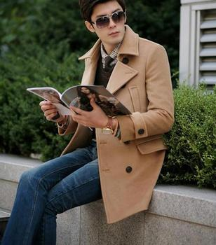 Free shipping!!!Hot sale Long coat male Korean fashion leisure double-breasted male Flax jacket/S-3XL
