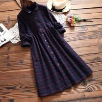 Autumn Winter Vintage Plaid Shirt Dress Women Thick Cotton Turn Down Collar Single Breasted Mori Girl