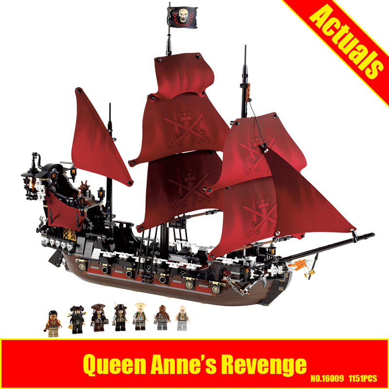 New LEPIN 16009 1151pcs Queen Anne's revenge Pirates of the Caribbean Building Blocks Set Compatible with 4195 Children DIY gift lepin 16009 the queen anne s revenge pirates of the caribbean building blocks set compatible with legoing 4195 for chidren gift