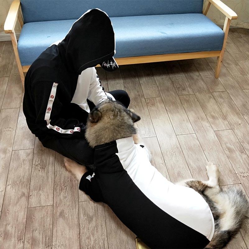 Pet Matching Clothes Patchwork Dog Hoodie Fashion Dog Coat Jacket S 6XL Medium Large Dogs Costume