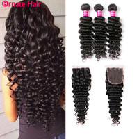 Brazilian Deep Wave Bundles With Closure 3 Bundles Human Hair Bundles With Closure Brazillian Hair Weave Bundles With Closure