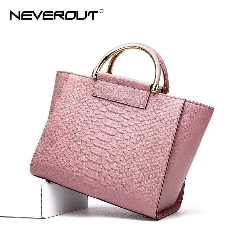цена на NEVEROUT Genuine Leather Handbag High Quality Brand Name Bag Women Bags Ladies Solid Handbags Tote Fashion 2 Color Shoulder Sac