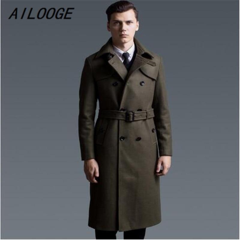 AILOOGE 2017 New Fashion Long Coat Men Slim Woolen X long Trench Coat Classical British Style Overcoat Winter Clothing Men