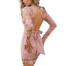 Мода sexy глубокий V-образным Вырезом с длинным рукавом кружева цветочный летний мини-платье тонкий баски спинки femininas элегантный лук ремень платье карандаша