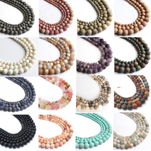 Natural Dull Polish Matte Tiger Eye Agates Quartz Turquoises Round Loose Stone Beads For Jewelry Making DIy Bracelet Necklace