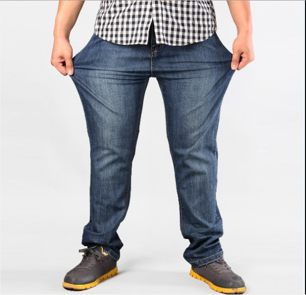 Men Plus Size Pants   jeans   strech comfortable 38 40 42 44 46 48 50 52 Mens High Stretch Large Trouser Loose   Jeans   for Men