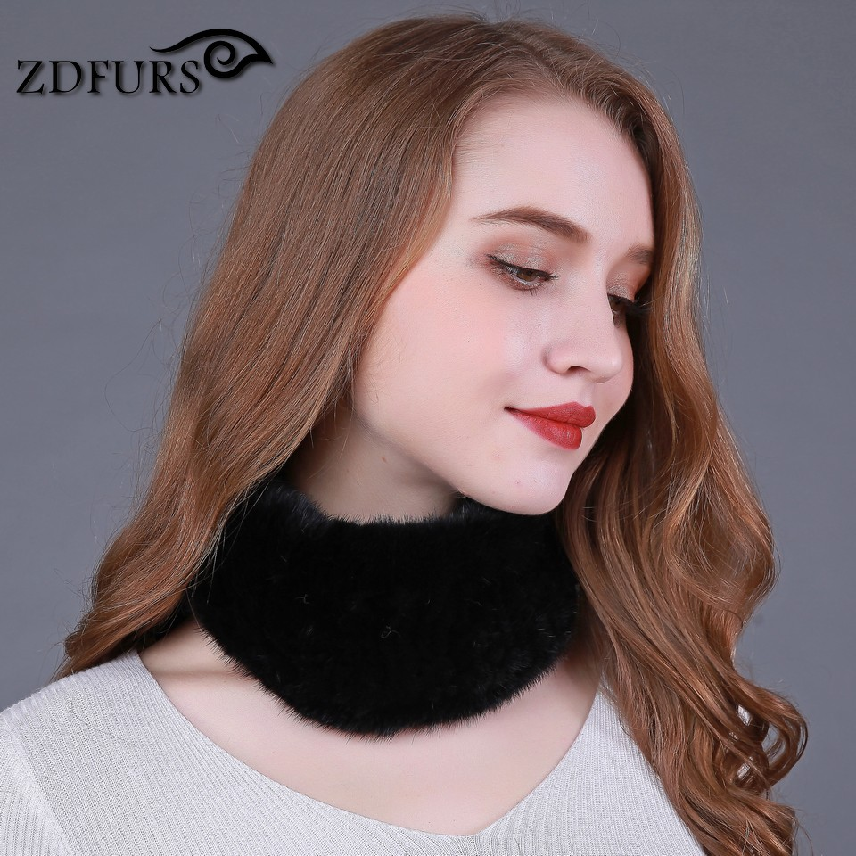 ZDFURS *Women Real Genuine fashion fur   Scarf   Mink fur knit   scarves   Warm mink fur headband Winter   Scarf     Wrap   Ring Neckwarmer
