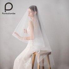 Parmalambe эластичная сетка свадебная фата с расческой два слоя ручной работы тюль фата аксессуары вело де novia