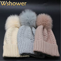 Lady Big Genuine Fox Fur Pom Pom Super Warm Winter Wool Hat Women Mink Fur Pompom Bobble Crochet Knitted Beanie Skullies Ski Hat