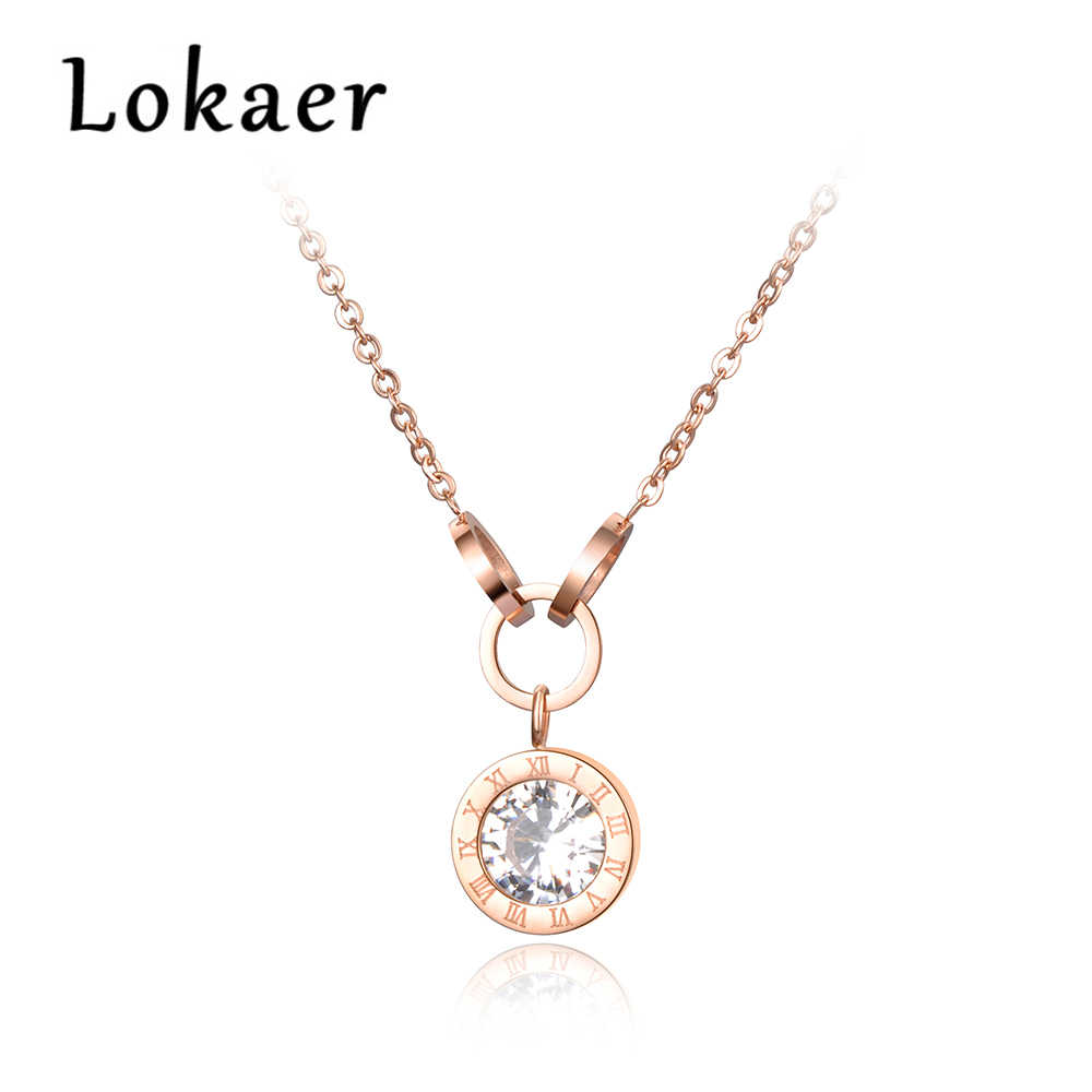 Lokaer Stainless Steel Necklace AAA Zircon Rose Gold Color Pendant Roma Numbers Cross Circles N18076