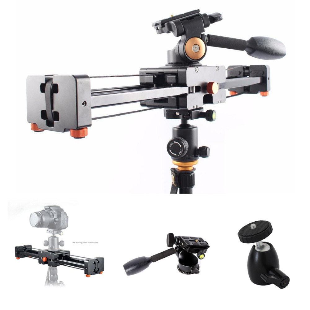 Commlite CS V500 Retractable Video Slider 50cm Dolly Track Stabilizer 1m Actual Sliding Distance Load Up 8kg+3 Way Fluid Head