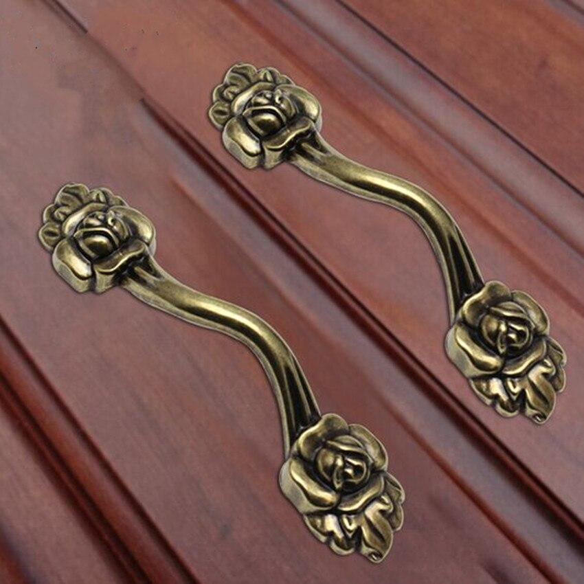Lot de 4 Union Jack Style Vintage En Céramique Armoire Poignées de porte en laiton antique