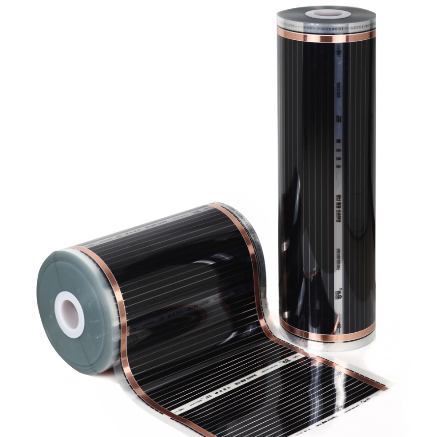 220-Volt Radiant Floor Heating Film 260W/m2, 10m/roll, Carbon Film Underfloor Heating Elements, Come With Thermostat