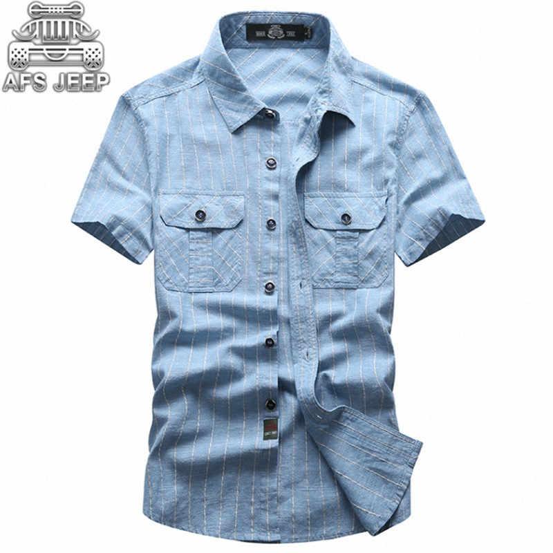 7a6df0b0c5dd02e Бренд АФН джип Для мужчин рубашки Размеры 5XL полосы Классический Англия  Стиль военный 100% хлопок