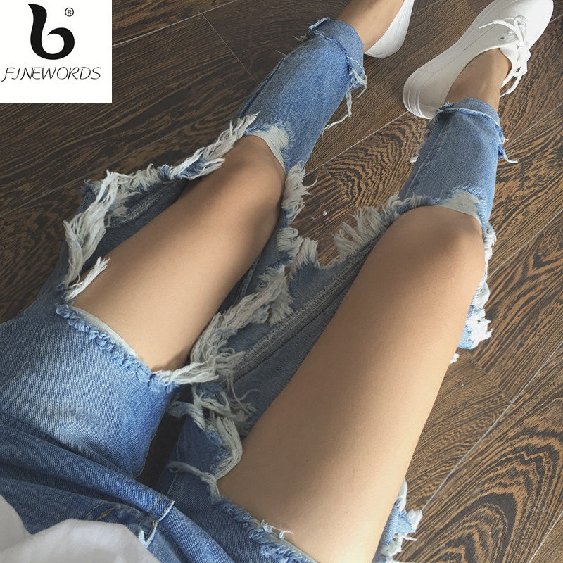 FINEWORDS Ripped Jeans Female Casual Washed Loose Big Holes Boyfriend Jeans For Women Regular Long Torn Jeans Wild Denim Pants plus size 5xl street style boyfriend jeans women denim pants destroyed holes casual fashion loose fit torn ripped jeans female