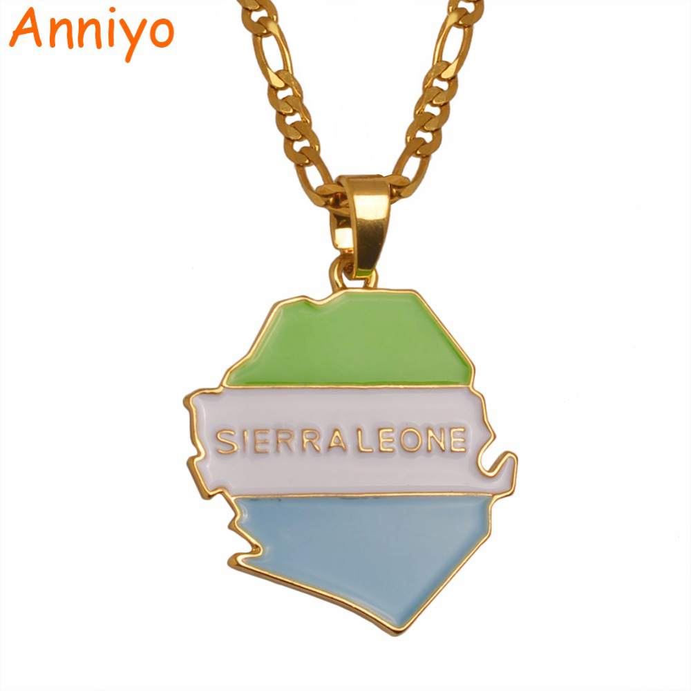 Anniyo Sierra Leone Map With Flag Pendant Necklaces for Women/Men Jewelry Gold Color Sierra Leonean Maps #105306