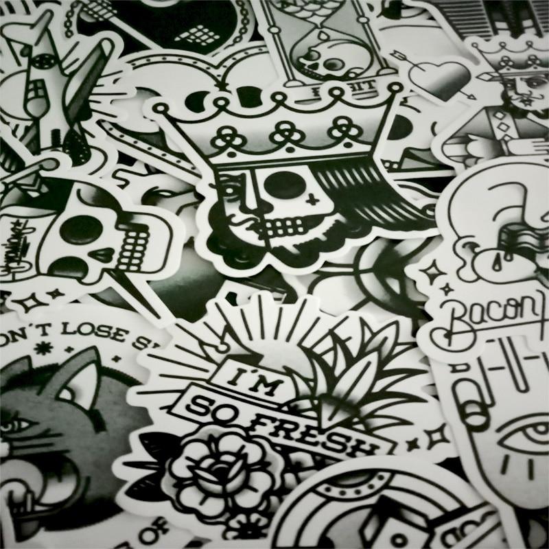 30 Pcs Restoring Ancient Ways Black And White Sticker Graffiti Punk JDM Cool Stickers For Kids Sticker On Laptop Bike Helmet