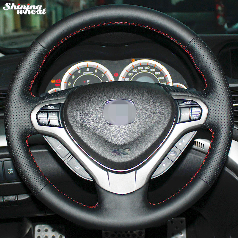 Shining wheat Hand stitched Black Leather Steering Wheel Cover for Honda Spirior OId Accord