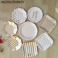 Gold Style Foil Dot Striped Tableware Disposable Party Paper Plates Bridal Shower Cake Table Birthday Party