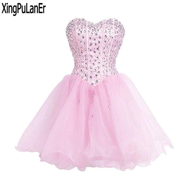 e84f9038c Vestido de fiesta Bola brillante vestido con cuentas cristales deshuesada  corpiño Organza corto vestido de fiesta