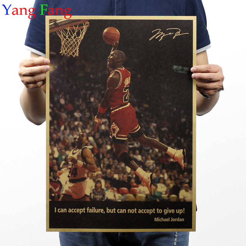 Basketball Player Michael Jordan Vintage Home Decoration Detailed Antique Poster Wall Chart Retro Matte Kraft Paper Wall Sticker