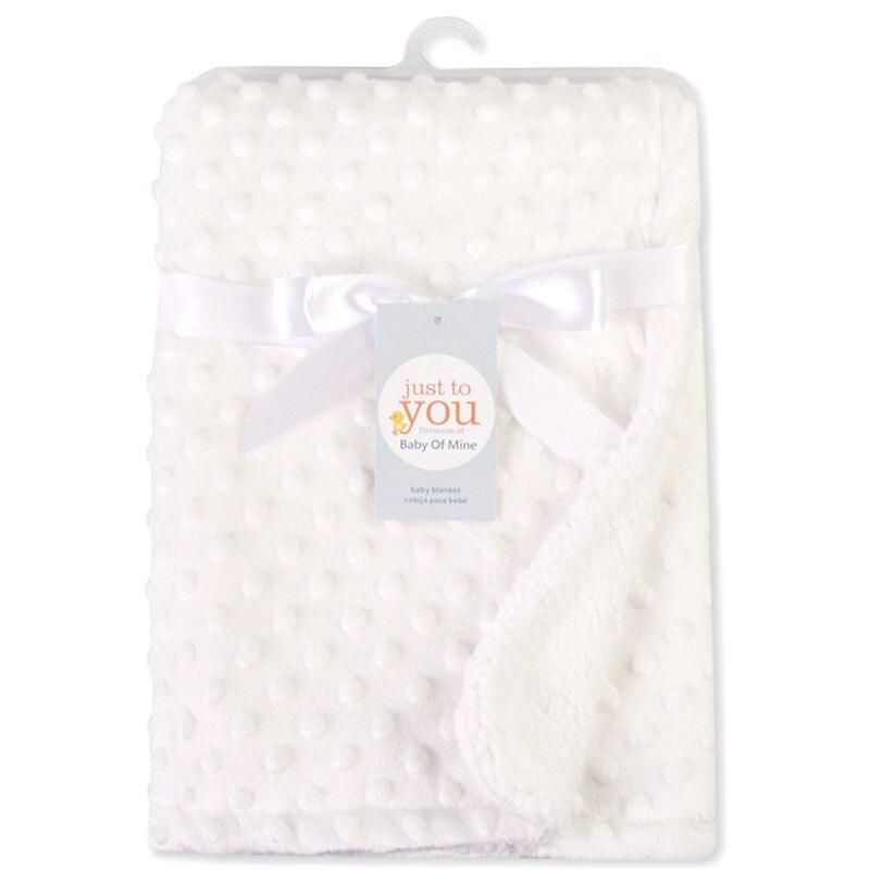 Детское одеяло и пеленание для новорожденных, теплое мягкое Флисовое одеяло, набор однотонных постельных принадлежностей, Хлопковое одеяло - Цвет: Белый