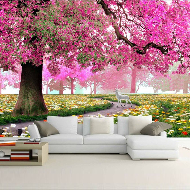 Modern Custom Photo Wallpaper Warm And Romantic Flowers Trees And Deer Living Room Wall Paper Sofa Backdrop Murals Wallcoverings