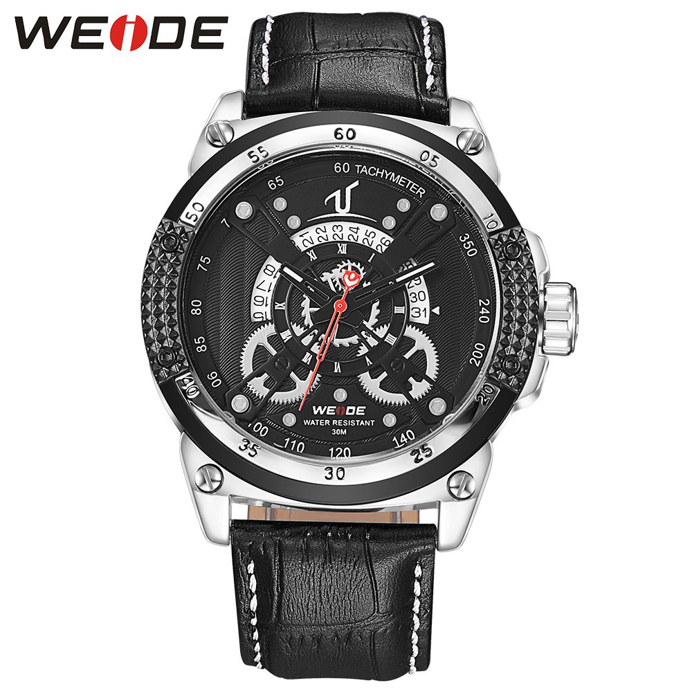 WEIDE Watches Sport Men Luxury Brand Business Dress Quartz Watch Black Dial Analog Clock Leather Strap Buckle Wristwatch For Man weide men watches clock analog quartz movement calendar date black leather strap band buckle hardlex wristwatches for sport