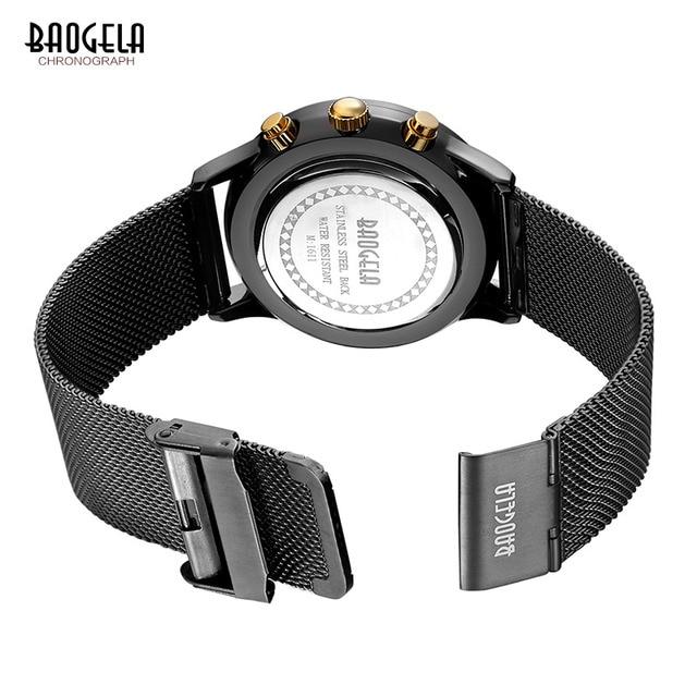 Baogela Mens Chronograph Lulminous hands Quartz Wrist Watches Mesh Strap Date Indicator Thin Dial Watch for Man BGL1611G-22