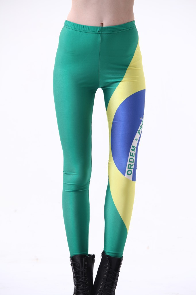 Fashion Women National Flag Of Brazil Leggings Slim Fit Thin Elastic Polyester Cos Party Pants Casual Trousers Drop Shipping