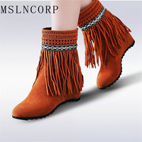 Plus Size 34 43 Women Ankle Boots Increased Heel Ladies Nubuck Leather Fringe Moccasin Cowboy Autumn