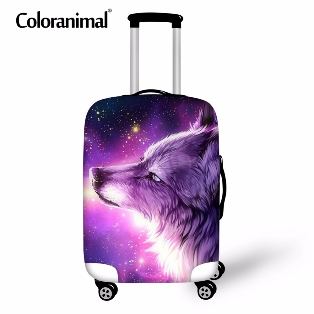 Coloranimal Cool 3D Animal Purple Wolf Design Travel On Road Luggage Cover Suitcase Trolley Protective Cover Suit For 18-30 Inch