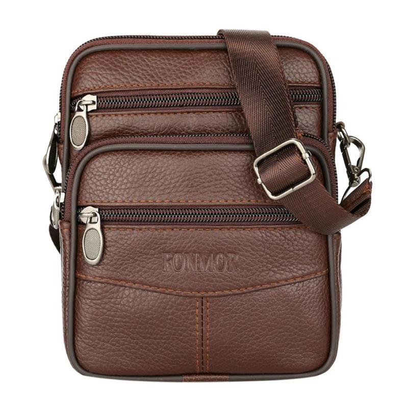 e13edecad160 Модная кожаная мужская сумка на плечо, Повседневная Деловая мужская сумка,  винтажная Новая мужская сумка через плечо, сумка для телефона