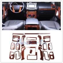 цена на 30pcs For Toyota Land Cruiser 150 Prado LC150 FJ150 2010-2017 Interior Wooden Color Trim Panel Overlay Car Styling Accessories