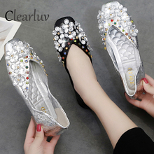 Fashion rhinestone flat shoes women's leather flat with single shoes shallow mouth comfortable soft bottom square head shoes