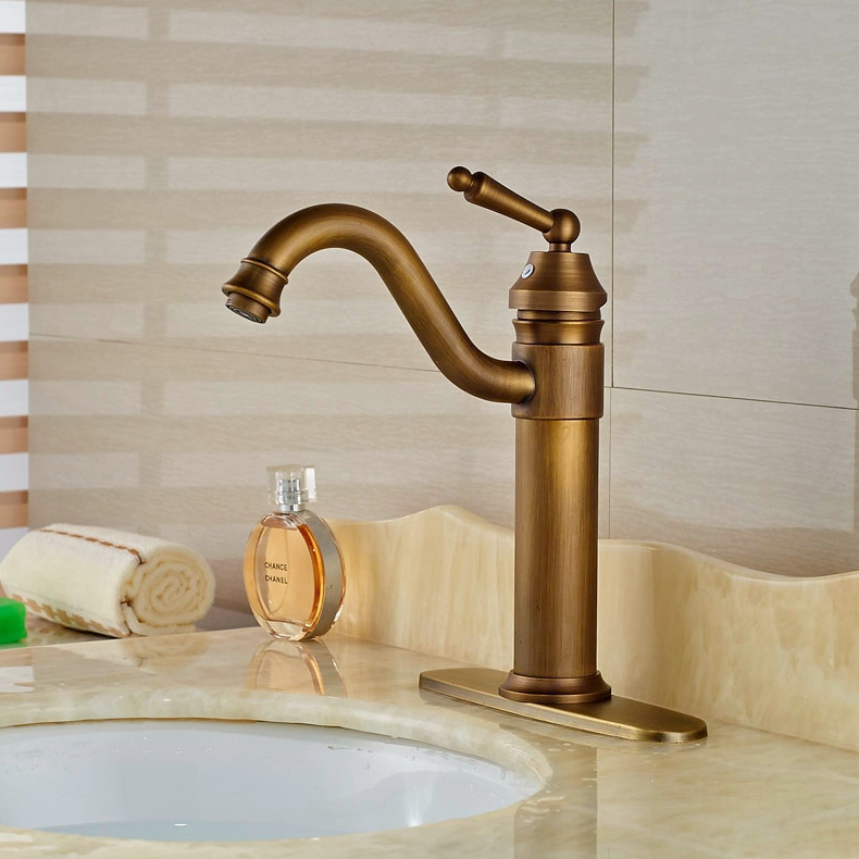 Brass Antique Vessel Sink Faucet Bathroom Basin Faucet Single Handle Mixer  Faucet W/8 Cover Plate