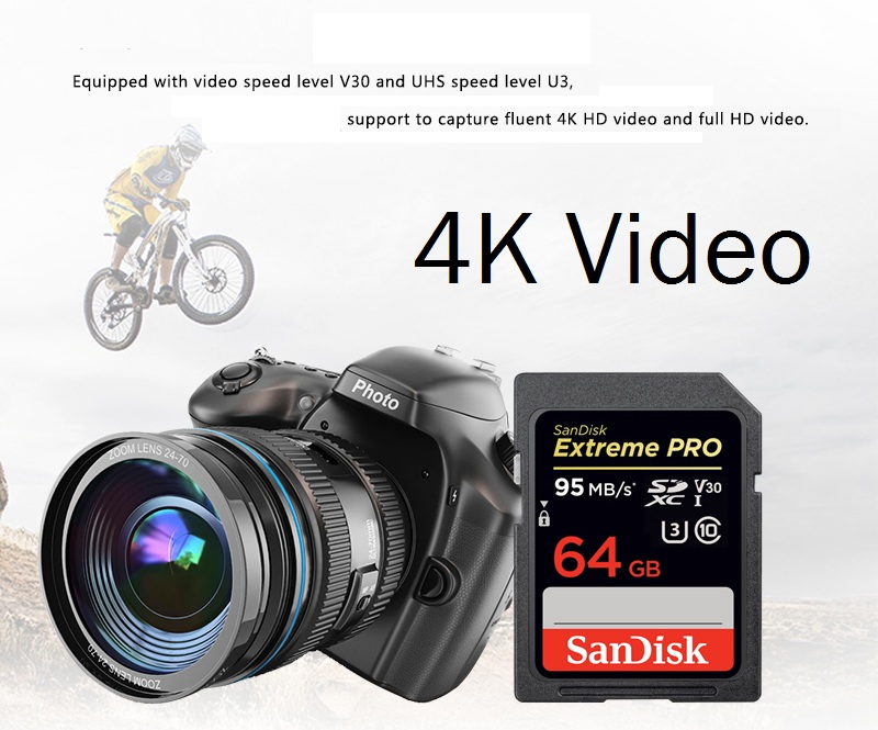 SanDisk 32GB Extreme PRO SD card 64GB 16GB Memory Card 128GB Sdcard 256GB class 10 UHS-I High Speed 95MB/s V30 DSLR sd 32 3