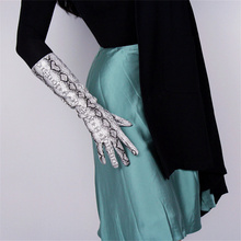 Women Fashion Gloves 40cm Patent Leather  Medium length Simulation PU Bright Skin Python Pattern 3-TB83
